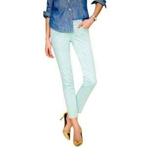 [J. Crew] Mint Polka Dot Cropped Matchstick Jeans